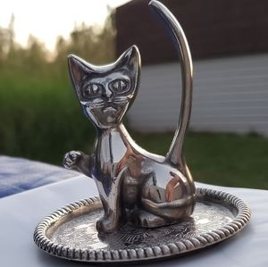 Vintage 1970's Cat Ring/Tree Holder Silver Plated